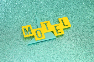 Teal and Yellow Motel Sign Magnet