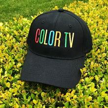 Load image into Gallery viewer, Retro COLOR TV Embroidered Black Hat by Merch Motel