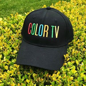 Retro COLOR TV Embroidered Black Hat by Merch Motel