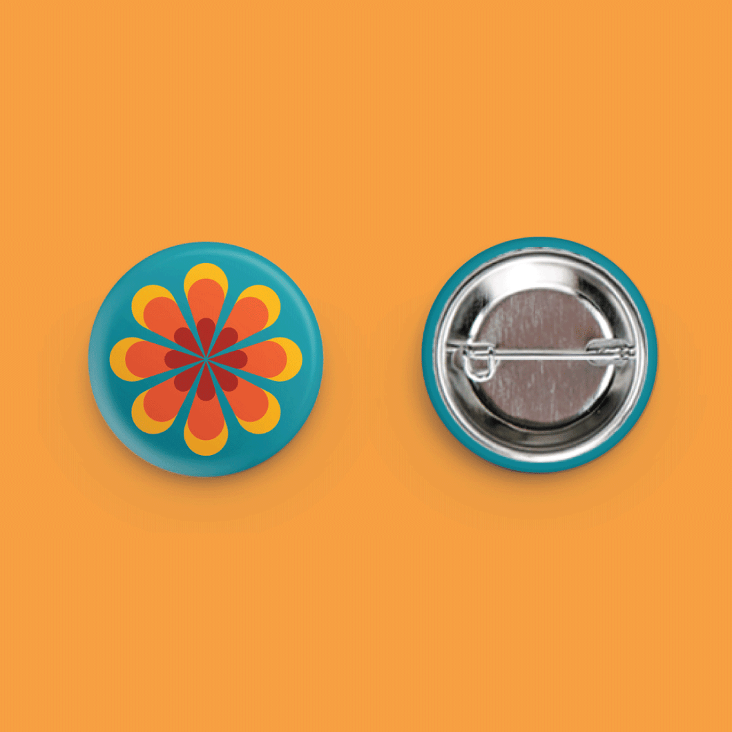 Retro 1970s Button Flower Graphic