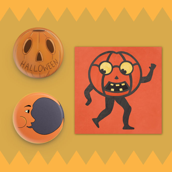 Vintage Halloween Button and Sticker Set Moon Pumpkin