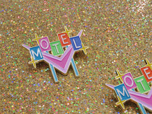 Load image into Gallery viewer, Retro Vintage Motel Neon Sign Enamel Pin by Merch Motel