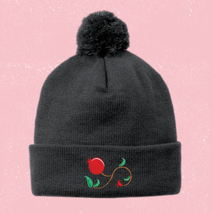 Embroidered Pomegranate Beanie