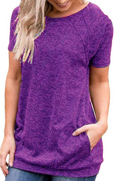 Pocket Round Neck Short Sleeve T-Shirt
