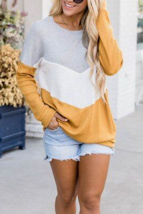 Round Neck Pullover Stitching Loose Knit Shirt