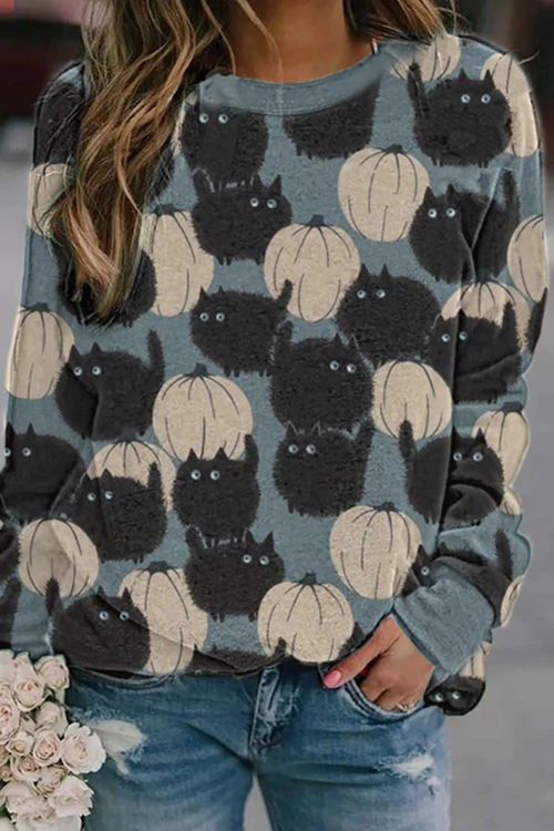 Pumpkin Print Round Neck Long Sleeve T-Shirt