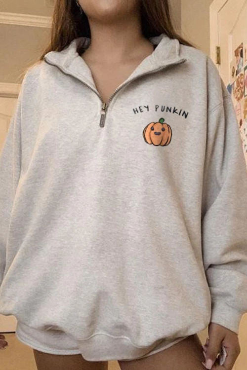 Zipper Halloween Pumpkin Print Sweatshirt