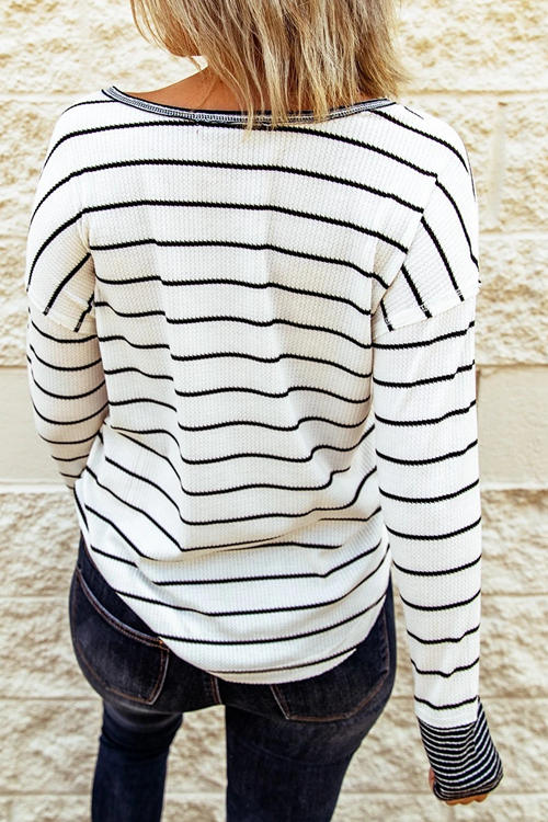 Knitted Striped Button Long Sleeve T-Shirt