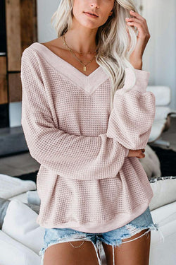 V Neck Hollow-out Long Sleeve Sweatshirt