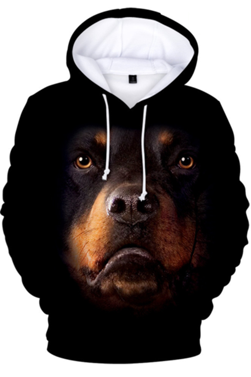 Unisex 3D Graphic Hoodies  Animals Dogs Rottweiler Quiet