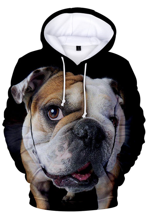 3D Graphic Hoodies  Animals Dogs French Bulldog Big Eyes