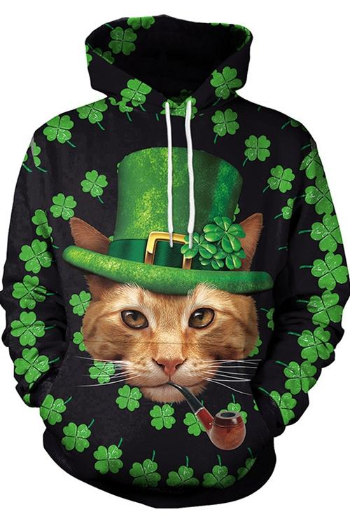 Four Leaf Clover Cat Print Long Sleeve Hoodie