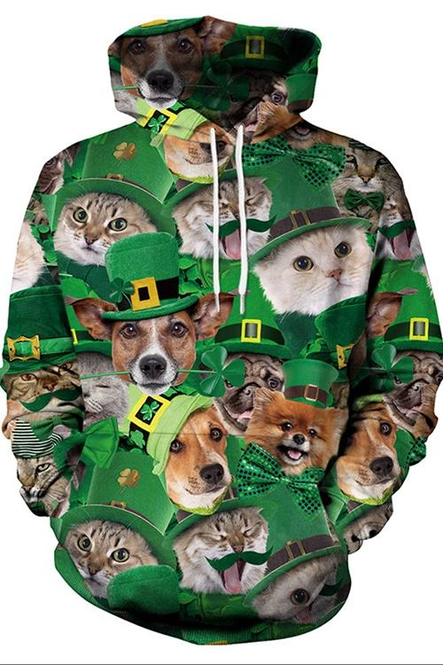 Cats And Dogs Print Long Sleeve Hoodie