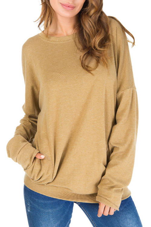 Solid Color  Pocket Long Sleeve T-Shirt