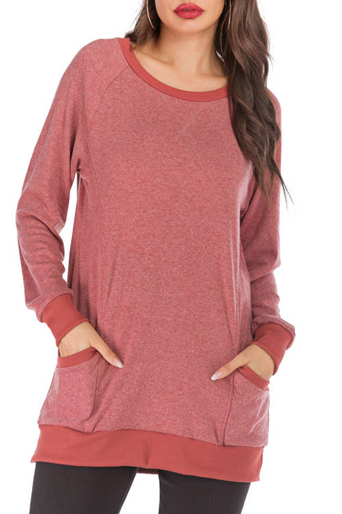 Solid-Color Round Collar Pocket T-Shirt