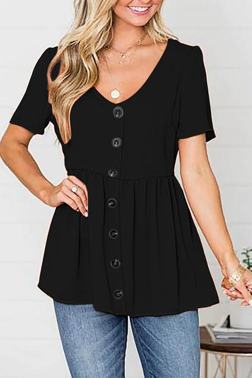 Plain V-Neck Loose-Buttoned Baby Blouse