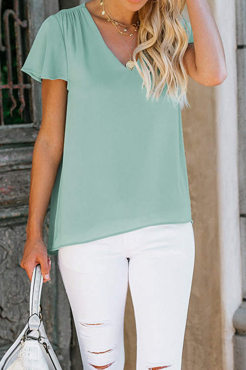 Casual Simple Lotus Leaf Sleeve T-Shirt