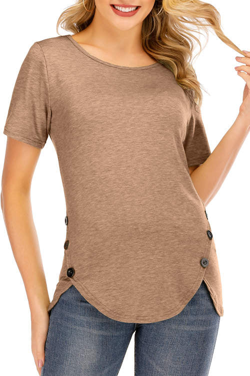 Irregular Button Bottom  T-Shirt