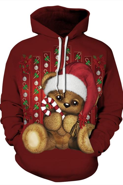 Red Bear Print Long Sleeve Hoodie