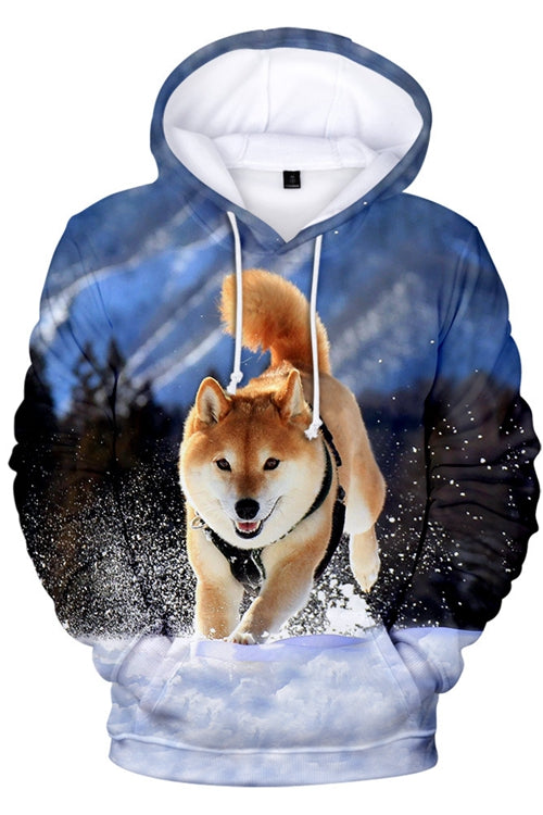 Unisex 3D Graphic Hoodies Sweatshirts Animals Dogs Shiba Inu Run wild