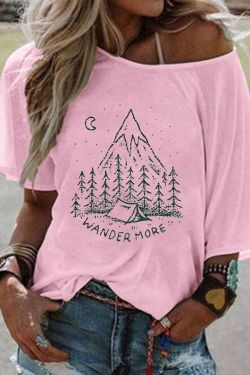 WANDER MORE Alphabet - Printed Bat Sleeves T-Shirt