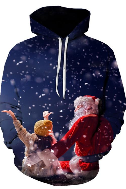 Santa Claus And Children Print Long Sleeves Hoodie