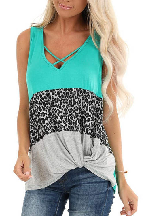 Leopard Print Patchwork Twisted Sleeveless Tank Top