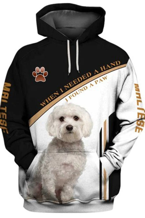 3D Graphic Hoodies Animals Dogs Maltese Paw