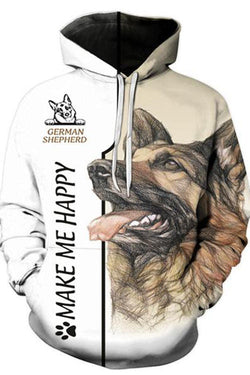 3D Graphic Hoodies  Animals Dog Art German Shepherd Dog 2