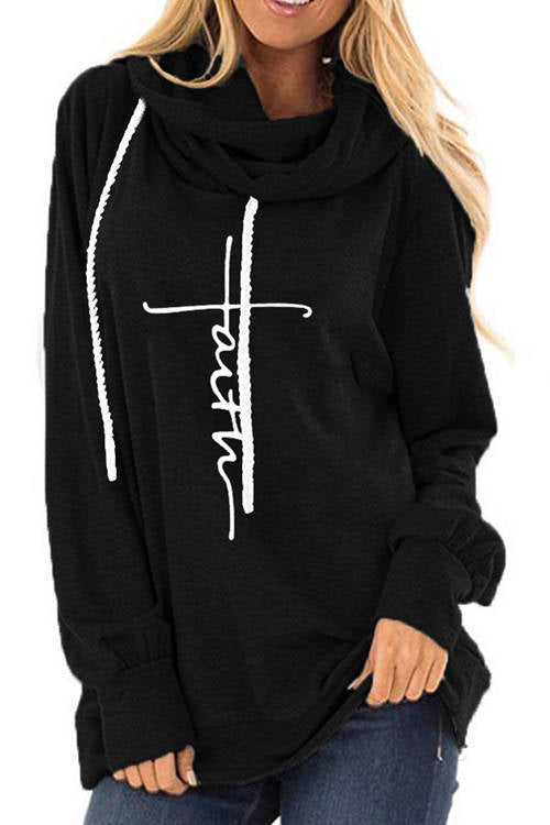 Faith Letter Print Long Sleeve Drawstring Hoodie