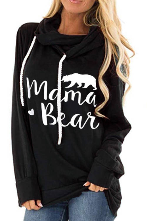 Mama Bear  Printed Long Sleeve Drawstring Hoodie