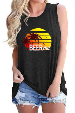 BEER ME Rainbow Coconut Tree Printed Tank Top