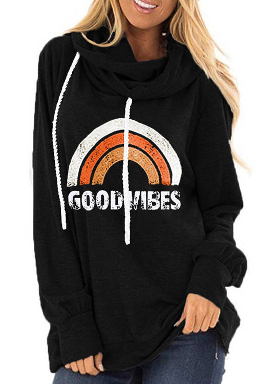 GOOD VIBES Rainbow Print  Long Sleeve Drawstring Hoodie
