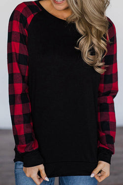 Plaid Print Contrast Color  T-Shirt