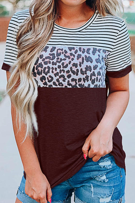 Round Collar Striped Leopard Printed T-Shirt