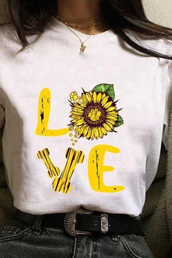 Sunflower Love block printed loose-fitting T-shirt