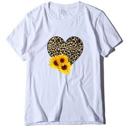Leopard heart sunflower loose T-shirt
