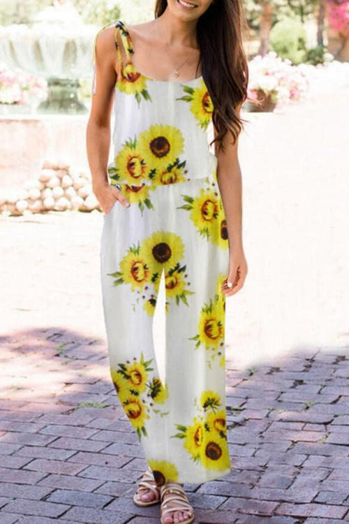 Sunflower jumpsuit with suspenders
