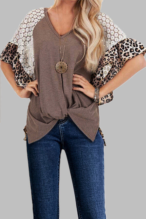 Leopard Lace  Twisted Irregular T-Shirt