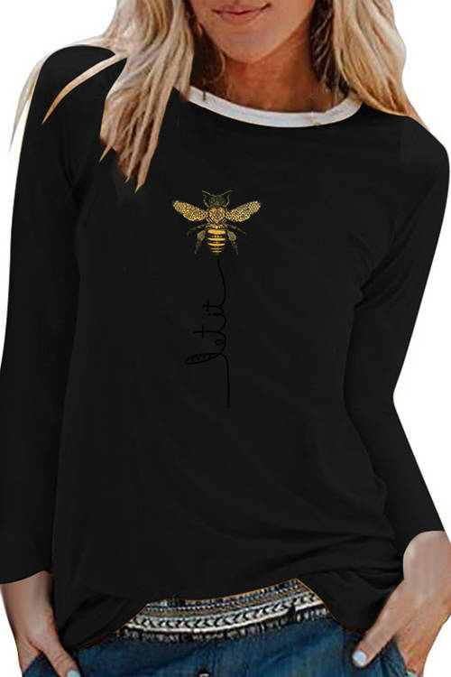 Bee Print Long Sleeve T-Shirt