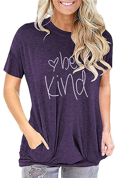Be Kind Printed Loose-Fitting T-Shirt