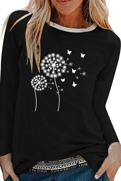 Dandelion Printed Long Sleeves T-Shirt