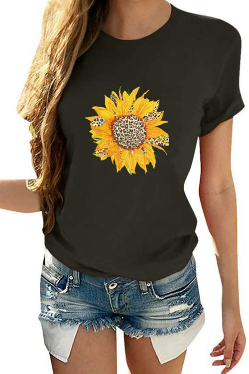 Leopard Sunflower Printed Short-Sleeved T-Shirt