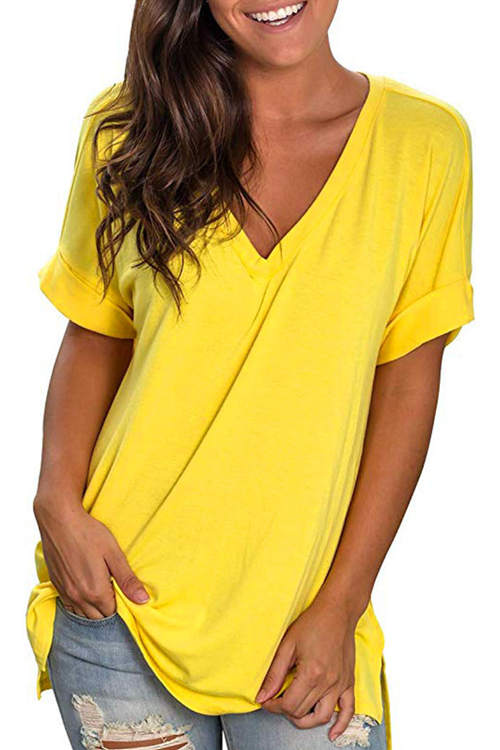 Plain Color Loose-Fitting T-Shirt