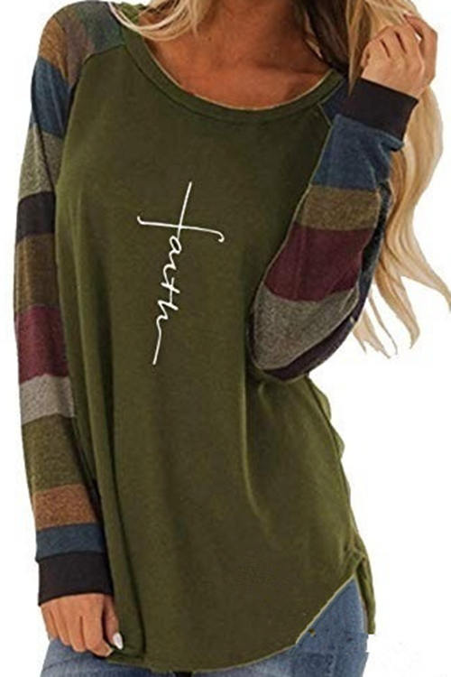 Round Neck  Stitching Contrast Color Long Sleeve Shirts