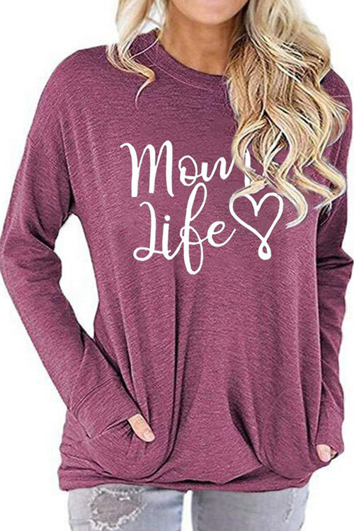 Mom Life Letter Love Pattern Printed Round Neck Long Sleeve T-Shirt