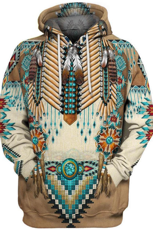 Indian Style 3D Digital Printing Long-Sleeved Hoodie