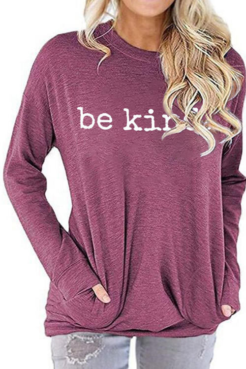 Be Kine Letter Print Round Neck Long Sleeve T-Shirt