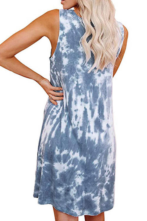 Tie  Dye Printed Vest Dress