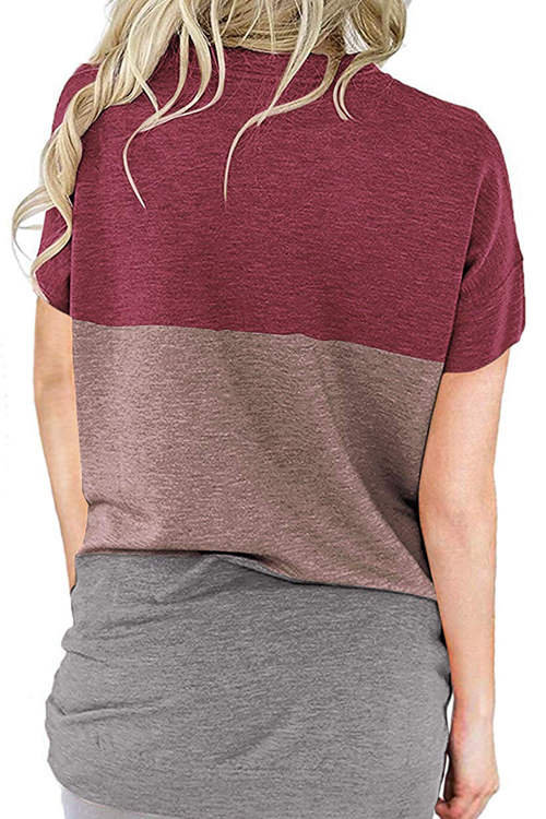 Matching Color Loose Bat Pocket T-Shirt